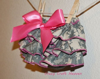 Army diaper cover, ACU ruffle bloomers, military ruffle bloomers, newborn-24M CAMO Bloomers