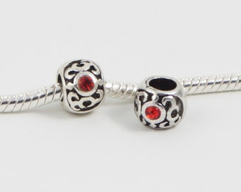 3 Beads - Red Flourish Flame Rhinestone Silver European Bead Charm E0128