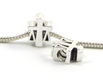 3 Beads-  Law Justice Scales Silver European Bead Charm E0440