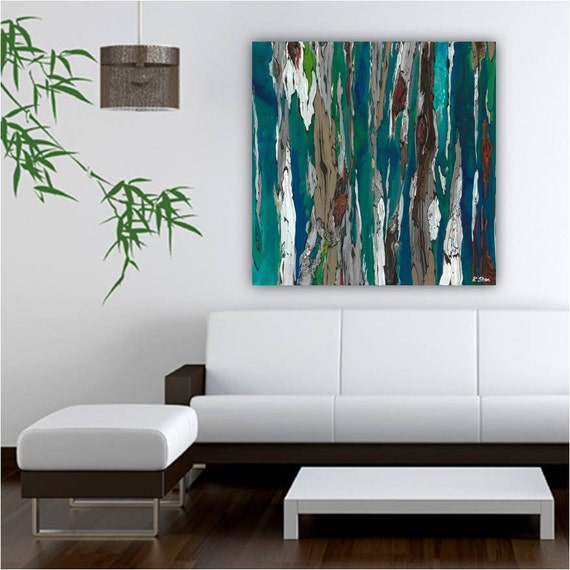 Very Colorful Bedroom: Very LARGE Teal Wall Art Print Abstract Landscape Trees By