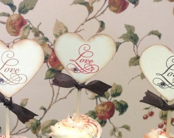 Love Cupcake toppers- wedding cupcake toppers- Bride and groom cupcake picks- set of 25