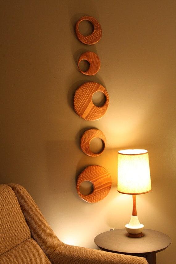 Mid century danish modern wood circle wall art sculpture
