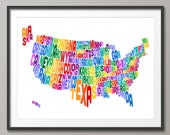 United States Typography Text Map, Art Print (205)