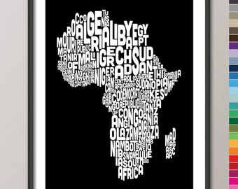 Typography Map of Africa Map, Text Art Print - color options (774)