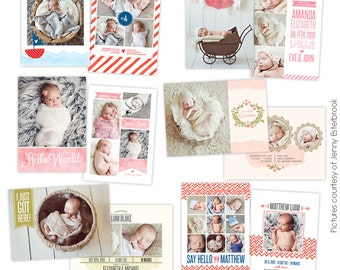 INSTANT DOWNLOAD - Birth announcements Photoshop template- E755