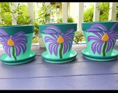 Purple Painted Flower Pots With Whimsical Cone Flowers 8-inch - Set of 3