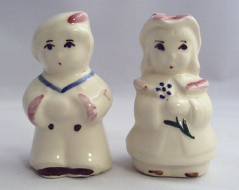 Vintage Shawnee Pottery Sailor Boy and Bo Peep Girl Salt and Pepper Shakers