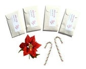 4 Sweetest Poinsettia Scented Sachets - Christmas Home Fragrance - Candy Cane Inspired - Red White - Winter Scent Small