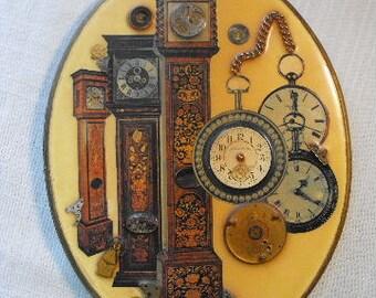 Vintage Steampunk Handmade Art Plaque