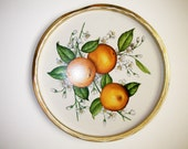 Orange Blossoms Round Tin Tray