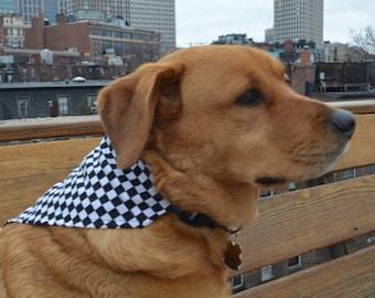 Checkered flag - no tie dog bandana  - goes over collar  - Small Medium Large - black and white NASCAR