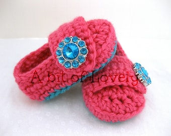 Easter Baby Girl Shoes / Booties - Teal & Bright Pink Jewel - YOUR choice size - (newborn - 12 months) - photo prop - children