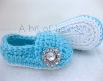 Spring Baby Infant Girl Shoes / Booties - White & Light Blue Jewel - YOUR choice size - (newborn - 12 months) - photo prop - clothing