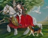 Lady Godiva Simona Candini SIGNED PRINT  Fairytale Fairy Fantasy Big Eyes Pop Surreal Lowbrow Art Horse Dog