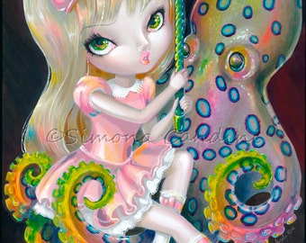 Little Octopus Rider SIGNED PRINT Simona Candini Lowbrow Pop Surreal Fairy Fantasy Big Eyes Art Carousel