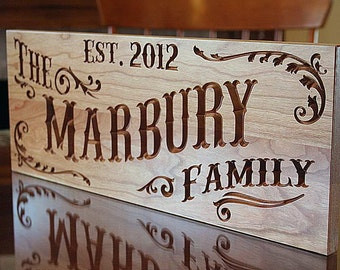 Family Name Sign, Established Sign, Personalized Sign, Custom Wedding Gift, Wedding Sign, Benchmark Signs Cherry RB