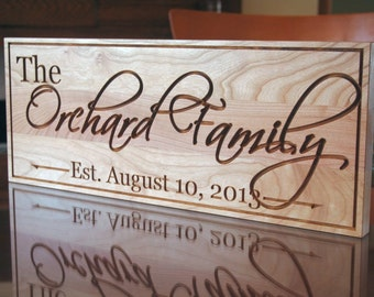 Family Name Sign, Wood Established Sign, Custom Date Sign, Custom Wedding Sign, Carved Wooden Sign, Benchmark Custom Signs, Cherry OG