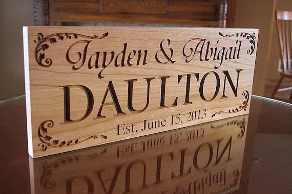 Custom Sign Wedding Established Sign Anniversary Gift For Boyfriend Last Name Sign Custom Sign For Wedding Family Name Wood Sign Cherry DD