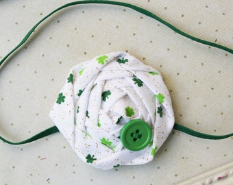 St. Patrick's Day Rosette headband, green headbands, newborn headband, st. patty's day headbands, photography