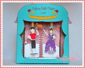 Flamenco Puppet Theater Printable PDF Kit - DIY Craft - Party Favor- Child Toy - Play & Pretend - Spain