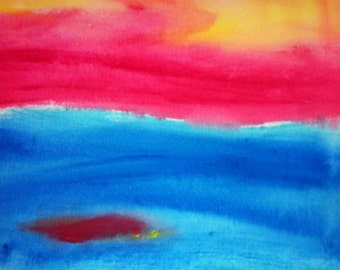 Keep Holding On - Abstract Colorful Water and Sunset Painting by Beth Slater Winnick: Piece of the Sun