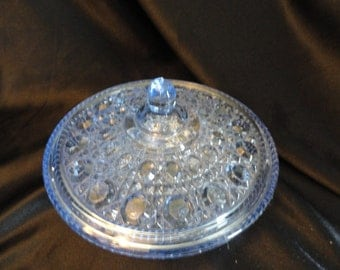 Pretty Indiana glass Cornflower blue covered candy dish, love this color