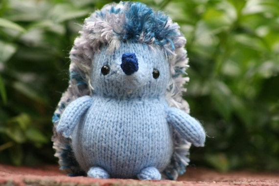 Miniature Blue Knitted Hedgehog Doll Tiny by ...