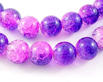 "Dark Blue, Pink, and Clear Crackle Glass Beads- 6mm - 30"" Strand"