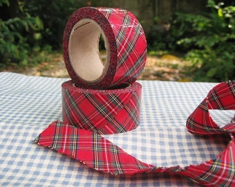 Fabric Ribbon / hand ripped/raw edge /red and green check pattern