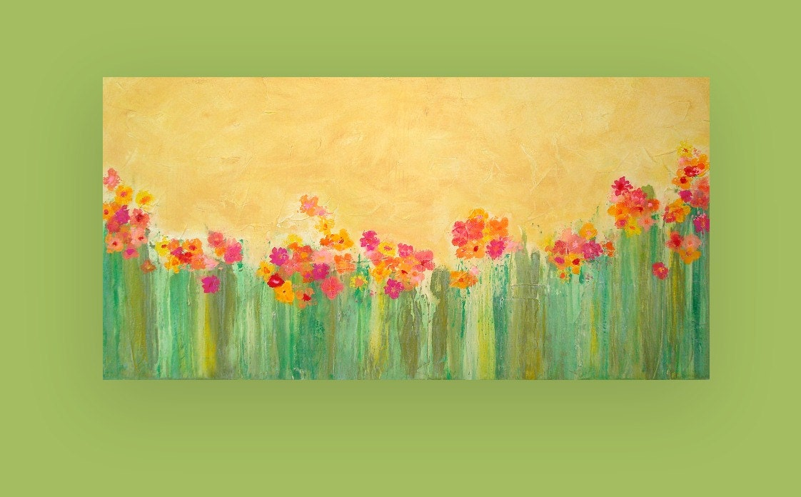 Large acrylic abstract flower painting titled garden of joy for Painting large flowers in acrylic