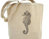 Tote bag, Team madcup, Decoupage tote bag, Recycled Cotton Everyday Tote, Eco bag ,Eco friendly bag - Sea Horse