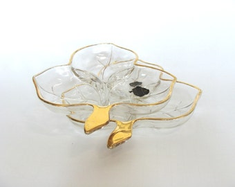 Clear Glass Leaf Dishes  Divided 3 Section by Hazel Atlas Set of 2, Maple Leaf Shaped Dish, Candy Nut Dish, Party Serving Dish, Collectibles