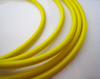 A121 - 5 Yards of 3mm Bright Yellow Round Stretch Elastic Drawcord Rope Cord