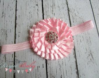 Baby Pink Headband - White Polka Dots & Satin Flower- Newborn Infant Baby Toddler Girls Rhinestone Metal Center