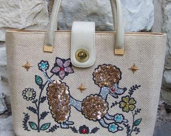 Whimsical Sequined Poodle Burlap Handbag c 1960