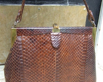 1950s Sleek Exotic Snakeskin Brown Handbag