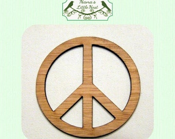 Peace Sign (Small) Wood Cut Out -  Laser Cut