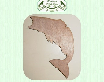 Jumping Fish Wood Cut Out - Laser Cut
