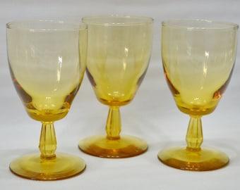 Vintage Pedestal Wine Glasses - Goblets - Water - Tea - Amber - Stemmed
