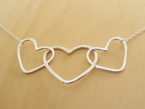 3 Silver Open Hearts Necklace - Sterling Silver