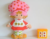 Vintage Strawberry Shortcake Stuffed Plush & Berry Happy Home Doll House Furniture Berry Cozy Kitchen Set Ice Box Miniature 1980s 80s