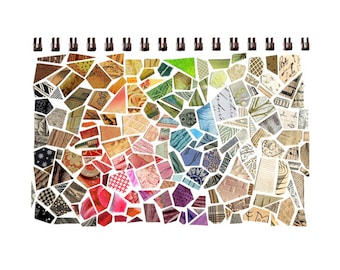 cut paper mosaic sketchbook print, sketchbook collage cut paper print