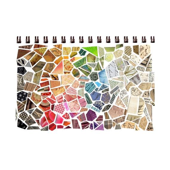 Sketchbook Cover Collage : Cut paper mosaic sketchbook print collage