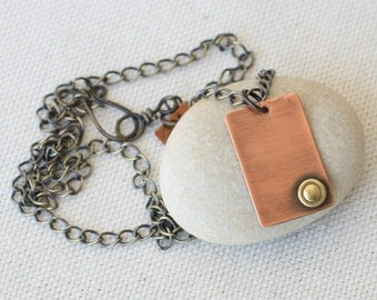 Copper Rectangle Small Mixed Metal Riveted Necklace Aged Brass Accent