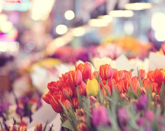 Seattle Photography - Pike Place Market Photo - Tulips - Market - Seattle - Whimsical - Fine Art Photography Print - Pastel Home Decor