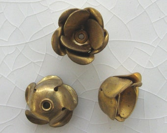 Vintage 10mm Double Layered Brass Roses.  1 dz.