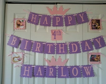 Tangled princess/ Rapunzel birthday banner personalized with name