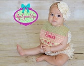 Handmade Vintage Inspired Shabby Chic Personalized Reversible Baby Teething Bib
