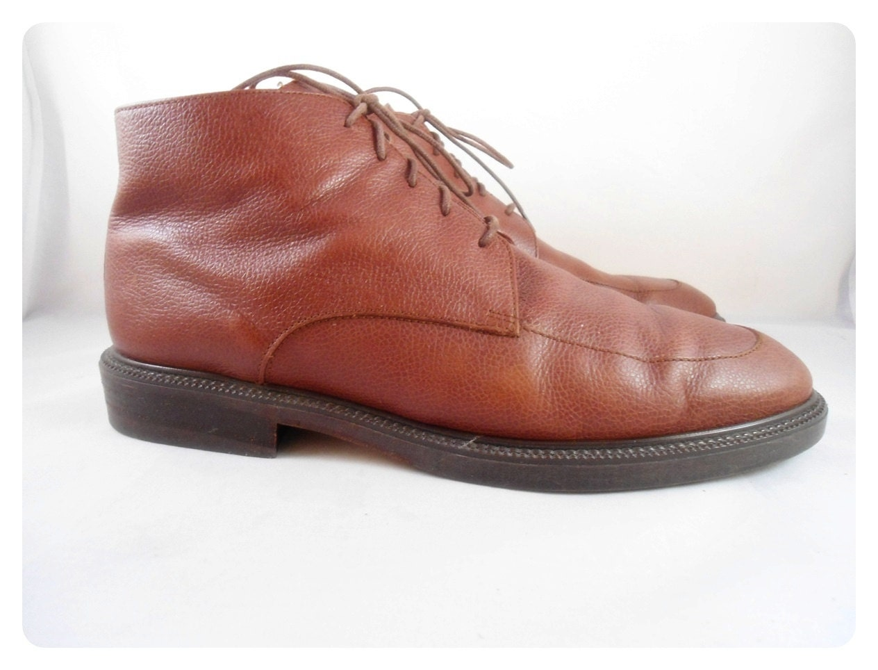 Vintage Mens EDDIE BAUER Ankle Boots Italian Brown Leather