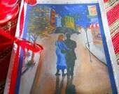 Umbrella Love Card, Fine Art Card, Greeting Card, Paris couple walking umbrella, print card of original Dan Leasure Oil